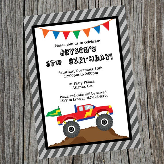 Custom Printable Monster Truck Birthday Party Invitation