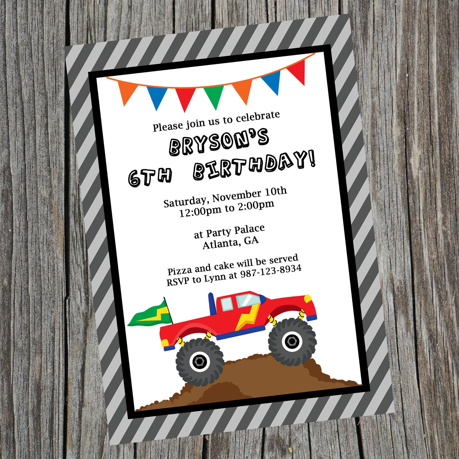custom printable monster truck birthday party invitation., Party invitations