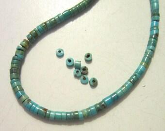 "turquoise heishe beads 2x2mm 1.5"" strand"