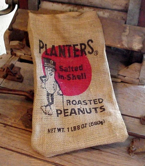 Planters Peanuts Burlap Bag Vintage Primitive Rustic Roasted Peanuts Sack Shabby Decor Craft Supply itsyourcountry