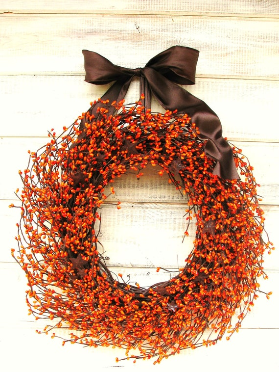 Fall Wreath-Halloween Decor-PRIMITIVE RUSTY STARS-Thanksgivig Decor-Autumn Door Decor-Holiday Wreath-Scented Wreath-Choose Scent & Ribbon