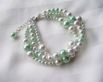 Bridesmaid Jewelry Set Multi-strand White and Mint Green Pearl Wedding Jewelry Set
