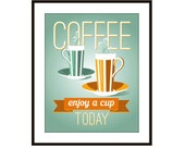 Coffee Art Print, Poster, Mid Century, Giclee Print, Retro Coffee Cup, Coffee Mug art print
