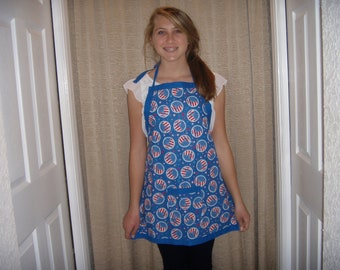 Patriotic Peace Signs Adult Apron 100% cotton red white and blue silver sparkly