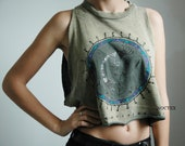 Vintage 80s 'Dream Vision' Tribal Forest Green Stone Wash Cropped Tank Top