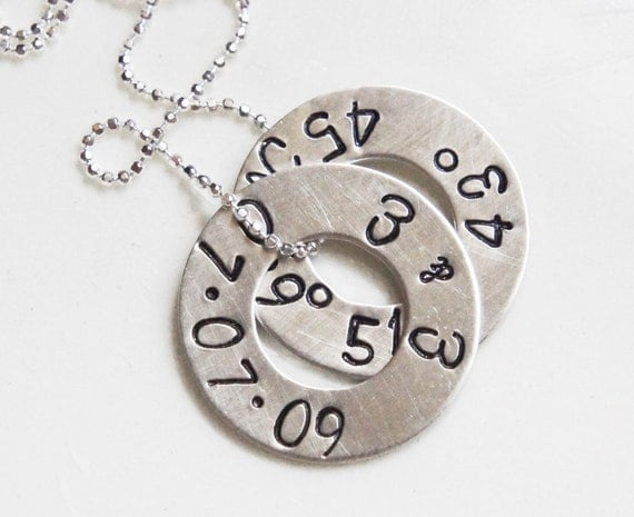 Personalized Necklace Sterling Silver Double Washer Hand Stamped Coordinates Longitude Latitude Name Date Mommy Anniversary Necklace