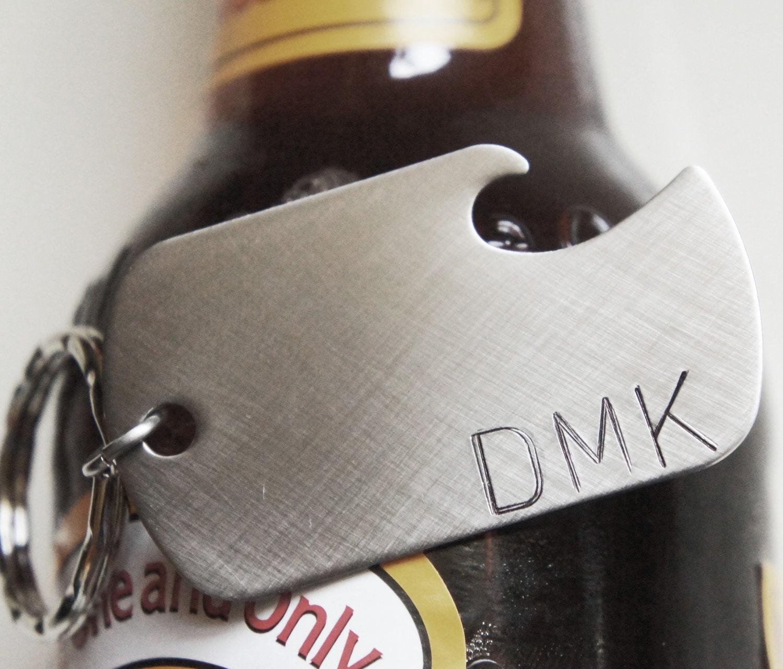 custom keychain personalized monogram bottle opener best man. Black Bedroom Furniture Sets. Home Design Ideas