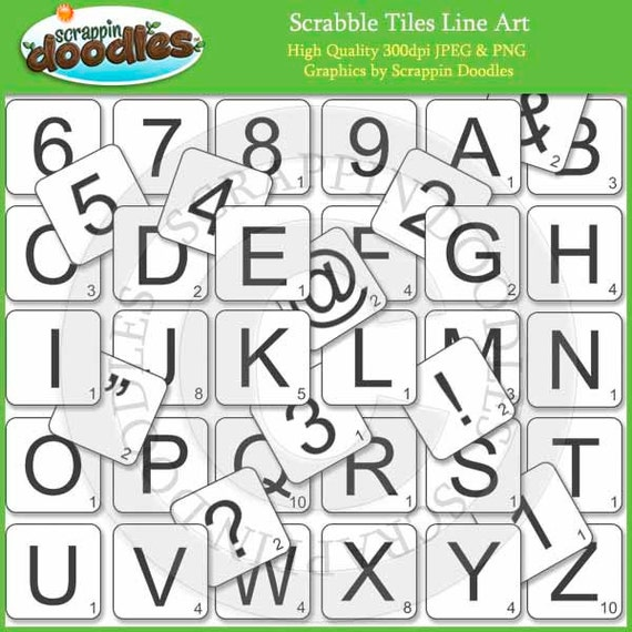 One Line Letter Art : Scrabble tiles alphabet line art