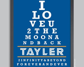 I Love You To The Moon And Back, Personalized Name Poster Nursery Wall Art Print, blue & orange, custom colors