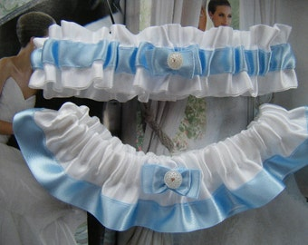 Blue and White Satin Garter Set