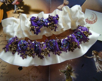 Hand Beaded Majestic Purple Off White Garter Set