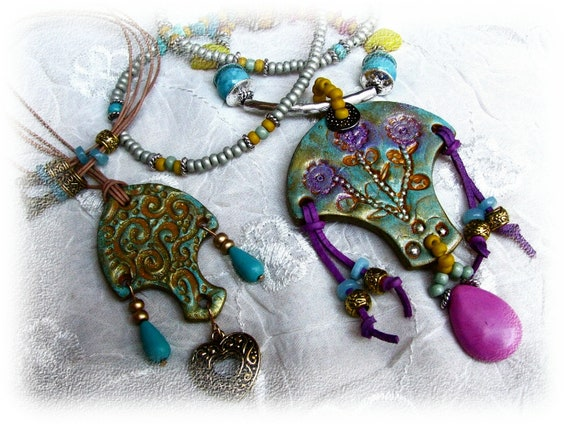Bhollywood collection - two polymer clay necklace - gold, turquoise, lilac, orange, silver - OOAK