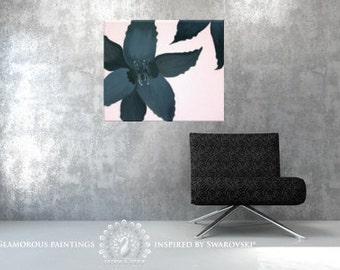 Black Beauty with Swarovski® & black glitter. Powder pink black flower original painting. Salmon pink and black. Modern art. Contemporary.
