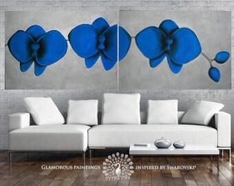 LARGE wall art Blue Orchids original art diptych & Swarovski® crystals. XXL still life painting. Blue painting. Original painting. Lydia Gee