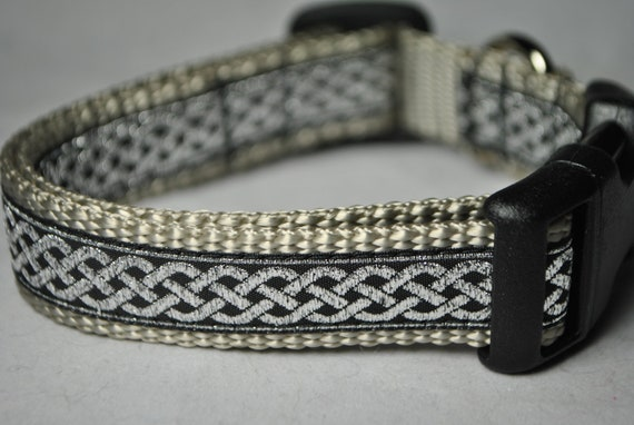"Celtic Knot Black and Silver3/4"" Adjustable Dog Collar"