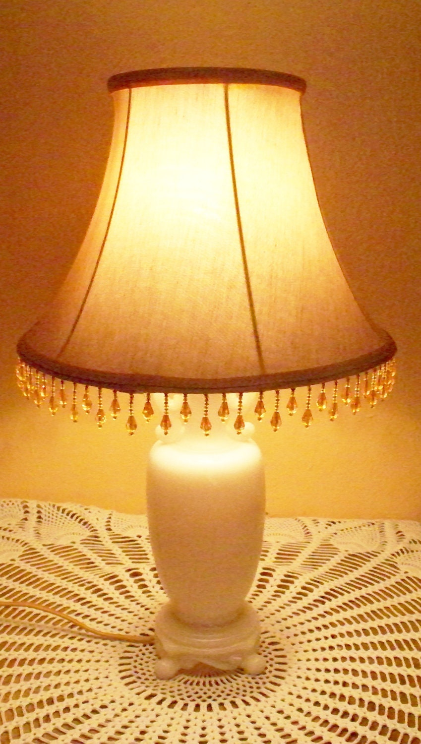 Aladdin Alacite Lamp Ivory Light Peach Color Electric Footed