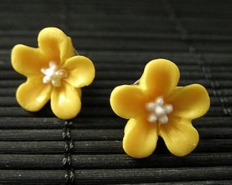Yellow Flower Earrings. Forget Me Not Flower Earrings with Bronze Stud Earrings. Flower Jewelry by StumblingOnSainthood. Handmade Jewelry.