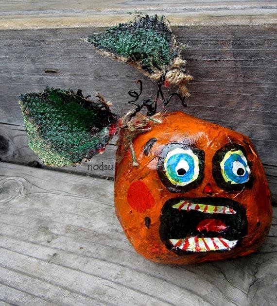 Halloween primitive pumpkin hand painted paper mache ornament orange creepy Mr Victom