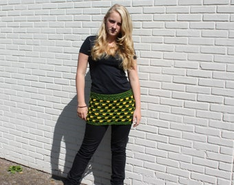 woolen skirt in green and yellow