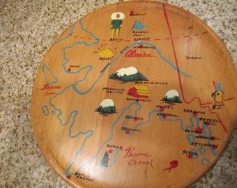 1950 Era ALASKA Serving tray with handpainted map  WOoD