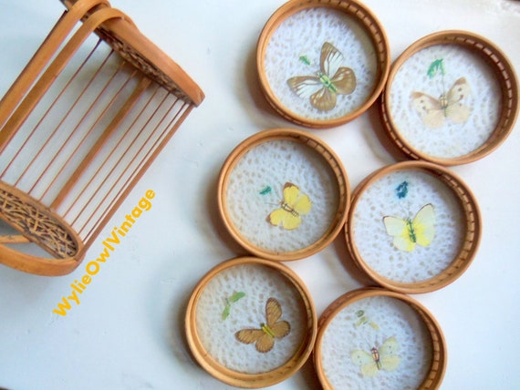 Pressed Butterfly Bamboo Coaster and Basket 7 Piece Set