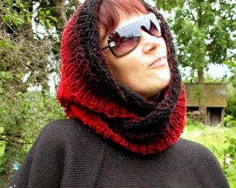 Red Black Infinity Scarf Cowl Wrap Hand knit Acrylic Wool Alpaca