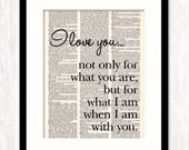 Love Quote Typographic Art Poster Print I LOVE YOU for What I Am Print on Dictionary Book Page, Inspirational Quote, 1st Anniversary Gift