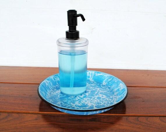 Vintage Aqua Blue Splatterware Small Tray