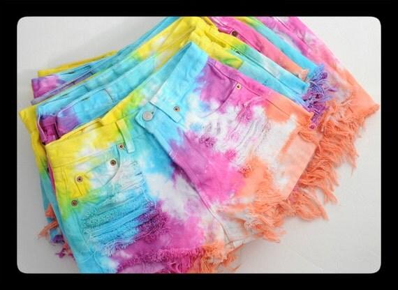 Levis 501 Rainbow Colorful Dyed TIE DYE Denim High Waist Cut off Shorts XXL