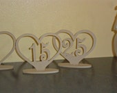Table Numbers Heart  Set of 1-30 MDF