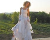 Upcycled Wedding Dress Fairy Tattered Romantic Dress Upcycled Woman's Clothing Shabby Chic Funky Eco Style MADE TO ORDER - cutrag
