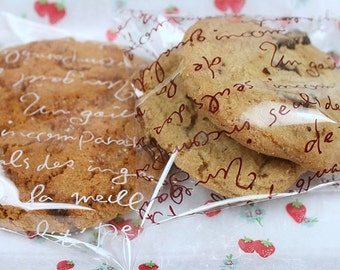 English Typography  Cookie Bread Cellophane Self Sealing Bags