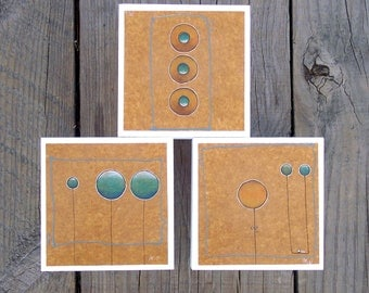 Circles Watercolor Triptych
