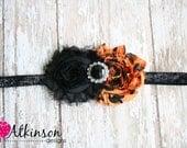 Halloween Orange and Black Shabby Flower Headband- Newborn/Infant/Toddler/Adult- Photo Prop