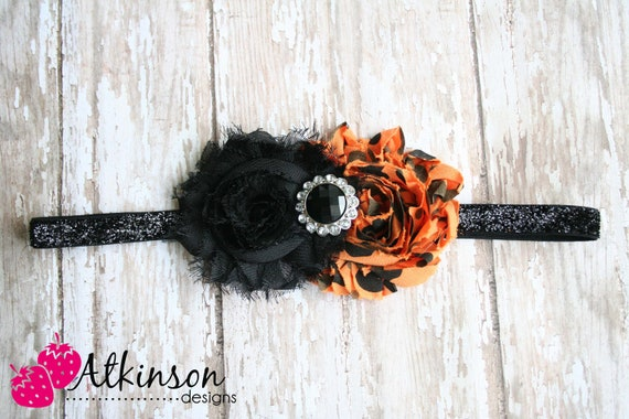 Halloween Orange and Black Shabby Flower Headband- Newborn/Infant/Toddler/Adult- Photo Prop