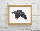 Hawk Linocut Block Relief Print - Falconry Bird Red Tailed Hawk Falcon Nature Predator Printmaking