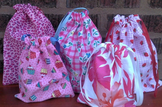 Girl's Birthday Party Gift Bags Assorted Fabric Upcycled Reuseable
