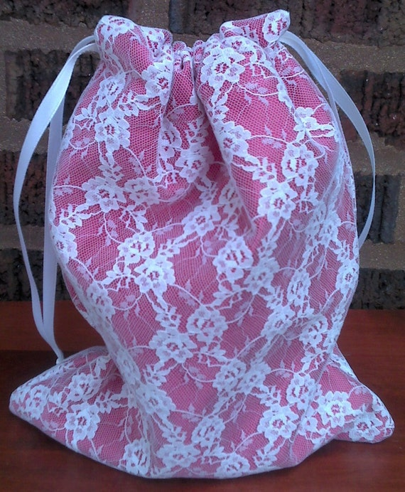 Gift Bag Lined White Lace and Rose Colored Upcycled Reusable  7 X 9
