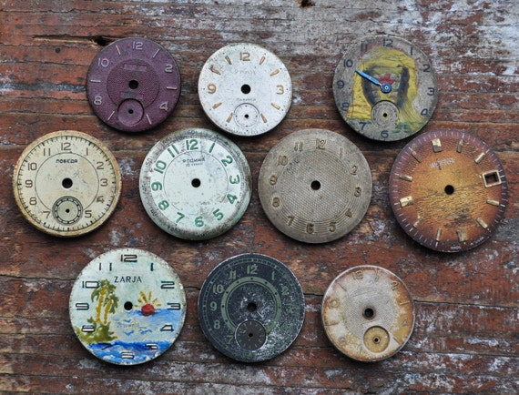 Lot of 10 vintage watch faces.dials.circle