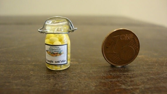 Reserved for Jessie miniature glass jar with mushrooms in oil