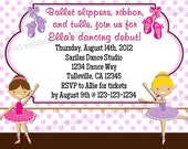 Ballet Recital or Birthday Invitation with Photo Option Print Your Own 5x7 or 4x6