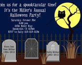 Graveyard Halloween / Birthday Party Invitation Print Your Own 5x7 or 4x6