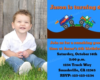 Monster Truck Birthday Party Invitation with Photo Print Your Own 5x7 or 4x6