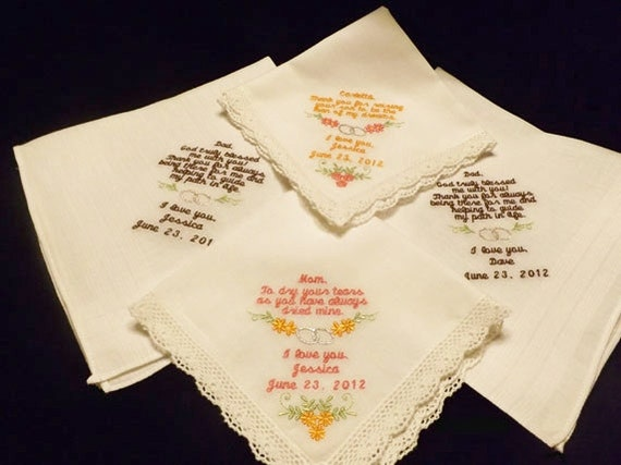 Personalized Wedding Handkerchief Set of Four Embroidered for Parents of the Bride and Groom