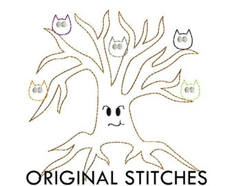 Spooky Owl Tree Halloween Quick Stitch Applique and Embroidery Design File 4x4 5x7 6x10 7x11 8x12