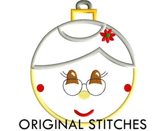 Mrs Claus Applique and Machine Embroidery Digital Design File 4x4 5x7 6x10