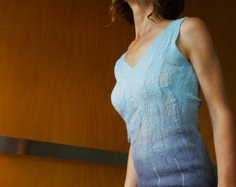 Sky Blue top, nuno felted, size XS, natural designer clothing, eco friendly clothing, sexy women's clothing