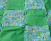 Toddler Frogs Travel Blanket, Kids lightweight blanket, green and blue bug blanket, blanket for daycare, summer, READY TO SHIP