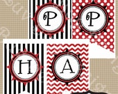 INSTANT DOWNLOAD Printable Pirate Happy Birthday Party Banner printables by Luv Bug Design