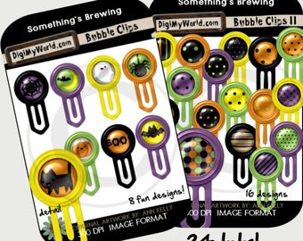 Halloween Colored inspired Bubble Clips high resolution clipart images for digital scrapbooking and card making